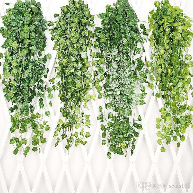 شنقا فاين يترك العشب الاصطناعي النباتات حديقة حفل زفاف ديكور جدار ديكور زهور اكاليل HH9-2185