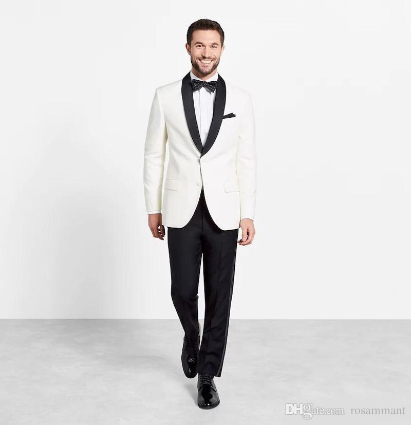 Basit Fildişi Özel Online Erkek Takım Elbise Slim Fit Damat Smokin Iki Parçalı Düğün Iş Resmi Giyim (Ceket + Pantolon)