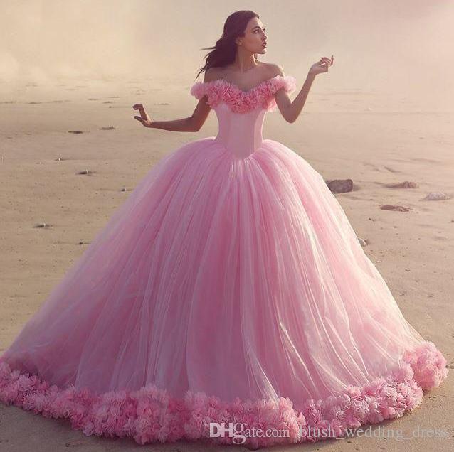 Vestidos Quinceanera bebê céu vestidos de azul bola fora do ombro Corset Hot Selling Sweet 16 Prom Dresses com Hand Made Flores