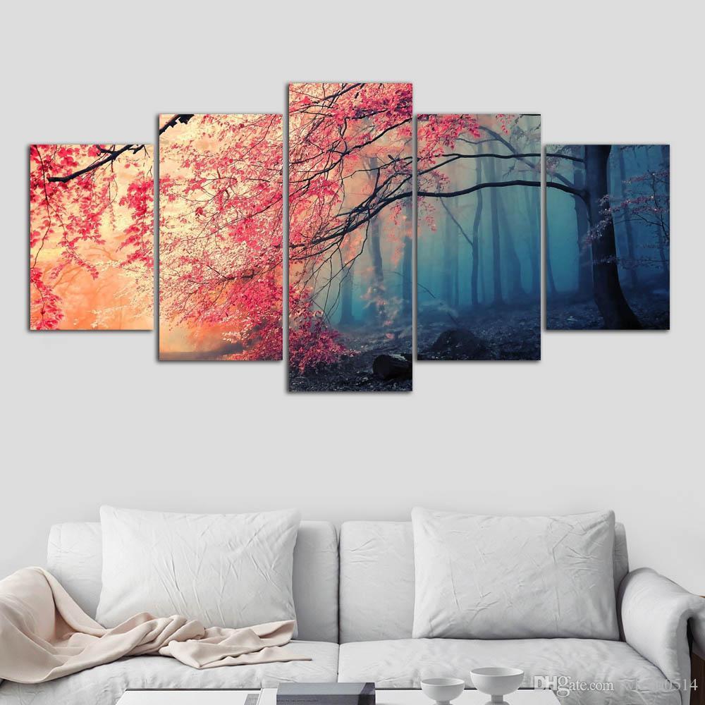 ملصق HD المطبوعات الحديثة جدار الفن قماش لغرفة المعيشة 5 قطع أزهار الكرز صور ديكور الأحمر الأشجار غابة الرسم