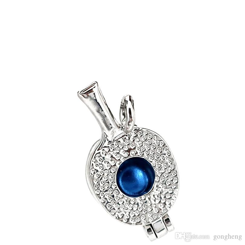 Silver Copper Racket Sports Equipment Hollow Oysters Pearl Beads Cage Locket Pendant Aromatherapy Perfume Essential Oils Diffuser