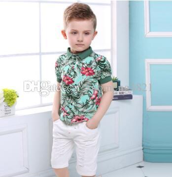 Kinderkleidung Active Boys Sets Sommer Kurzarm Floral Shirts + Shorts + Gürtel Anzüge Hosen 3 Stück Kleidung Kinder 2019