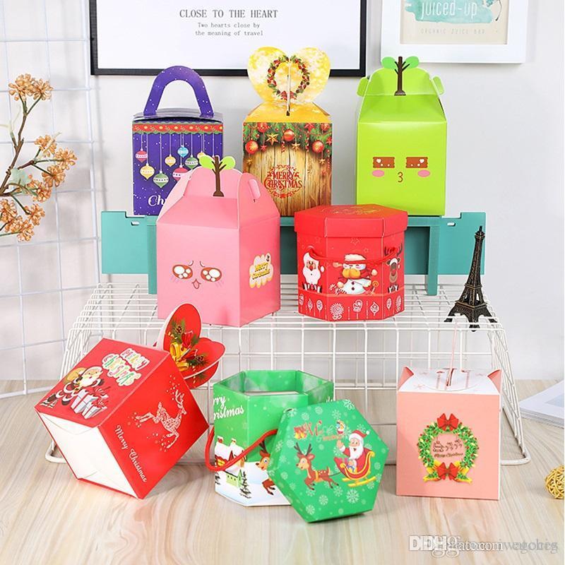Bricolaje caramelos regalo de la fiesta de vacaciones caja de la Navidad Decoración suministros de embalaje de frutas paz caja de papel del chocolate caja de regalo el envío libre
