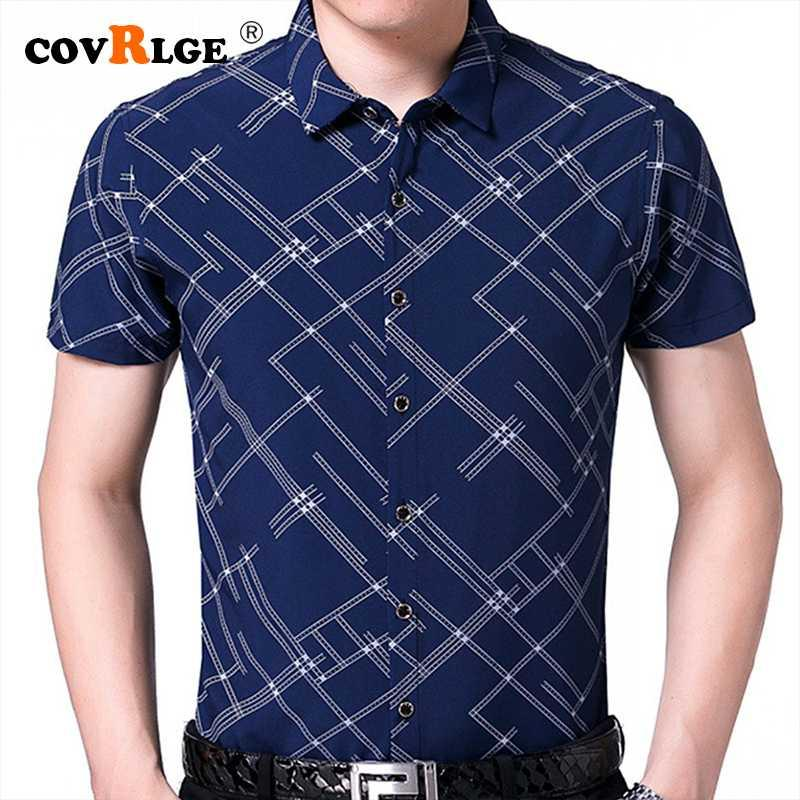 Mann-beiläufige Plaid-Hemden der neuen Sommer-Kurzarmhemd Camisa Masculina dunkle Farbe Männer Kleidung Slim Fit Camisa Social MCS131