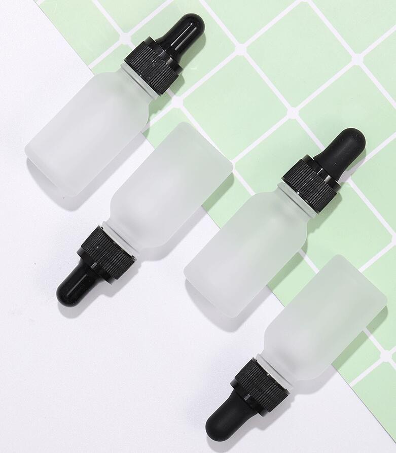 15ml congelati bottiglia di vetro contagocce trasparente con silice cappuccio in gel di vetro olio essenziale bottiglia bianca