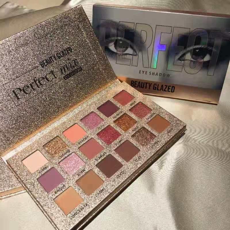 Makyaj güzellik camlı göz farı paleti 18 renkler mükemmel çıplak göz farı paleti elmas glitter metalik pigmentli gölge dhl