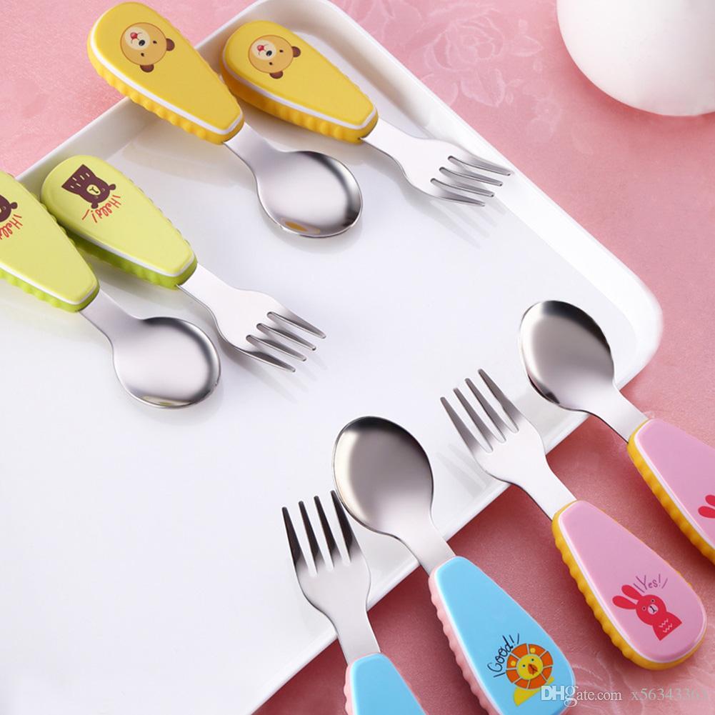 2 unids / set acero inoxidable vajilla creativo de dibujos animados niños vajilla conjunto tenedor cuchara con caja de plástico niños vajilla conjuntos
