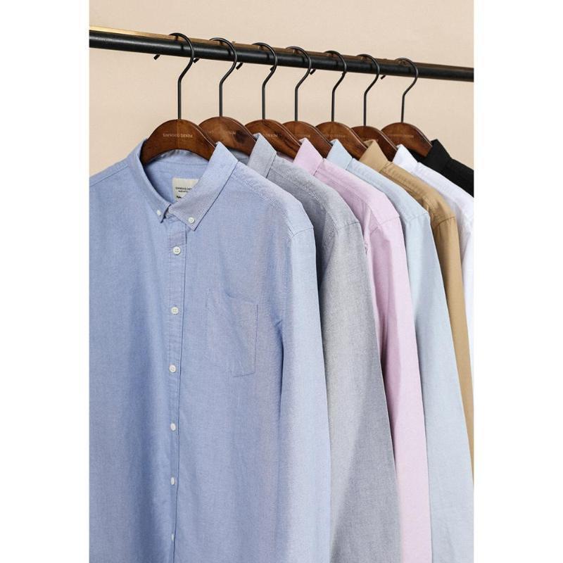 Homens Casual Camisas Simwood 2021 21s / 2 Oxford Homens Camisa Clássica Single Bolsos De Peito 100% Algodão Spring Brand Roupas SJ110377