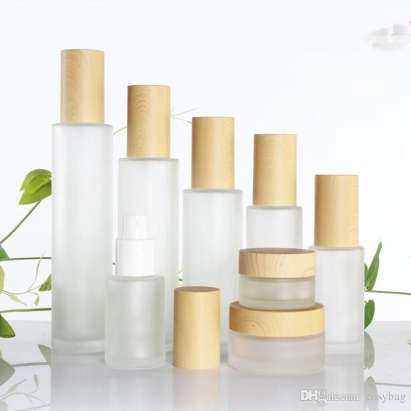30ml/40ml/60ml/80ml/100ml Frosted Glass Cream Jar with Plastic Imitated Wood Lid Makeup Skin Care Lotion Pot Foundation Push Pump Bottle