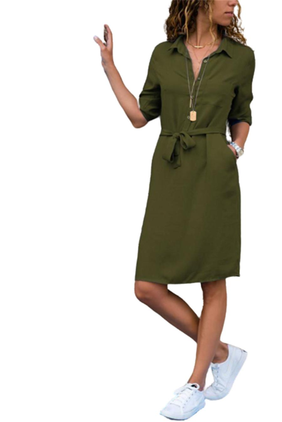 Autumn Three Quarter Sleeve Dresses for Women Work Casual Solid Color Shirt Blouses V Neck Dresses with Pocket