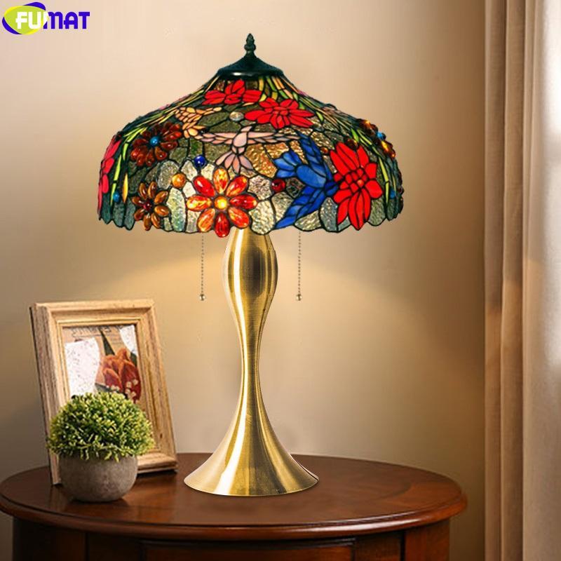 FUMAT Chrysanthemum Hummingbird Stained Glass Table Lamp Tiffany Style Light Decorative Reading Lighting Colorfull Lampshade Art