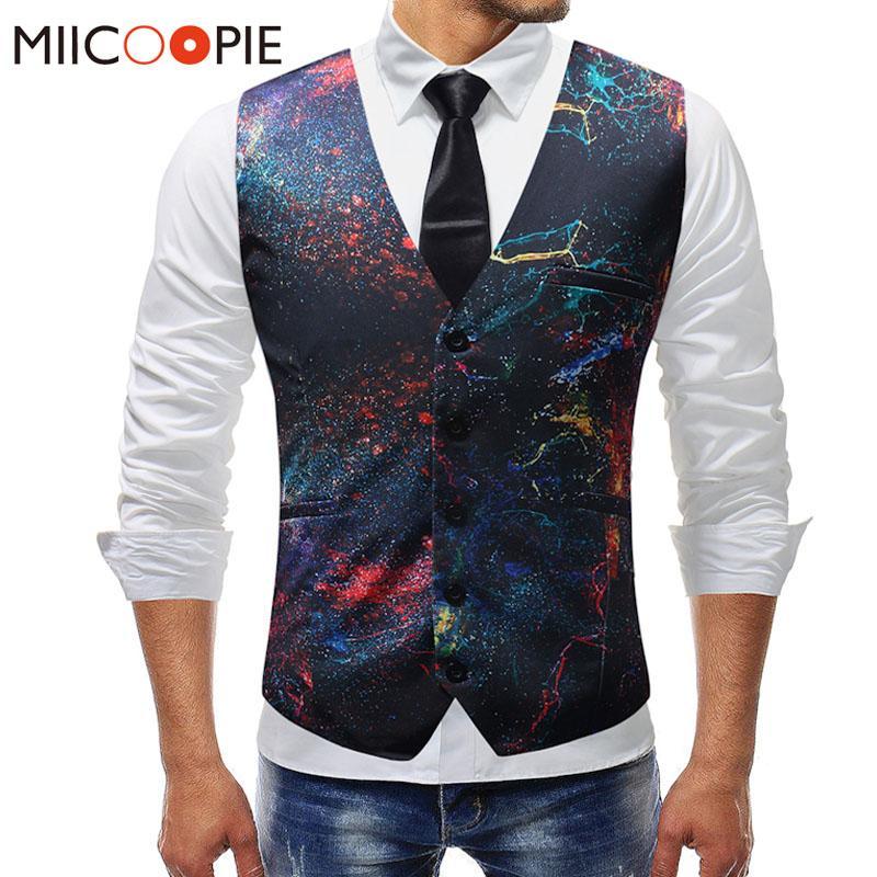 New Dress Vests For Men Slim Fit Casual Graffiti Printed Sleeveless Jacket Coat Mens Formal Waistcoats Dress Suit Vest 5XL