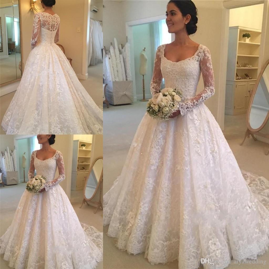 Dernière vente chaude encolure dégagée A-ligne à manches longues en dentelle robes de mariée bouton Retour appliques perles robes de mariée de mariée