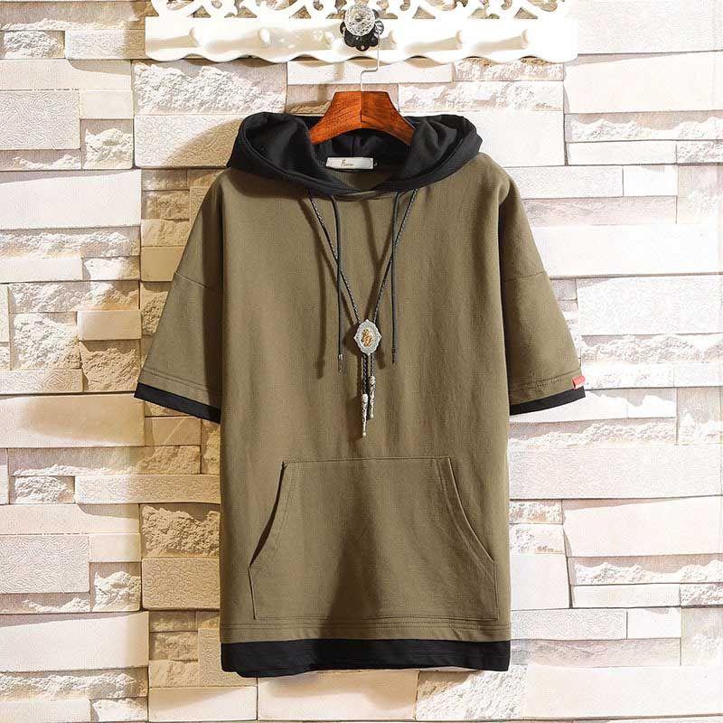 Men's Hoodies Casual Mens European and American Style Sweatshirt Hot Sale Men Hooded Slim Short Sleeves Hoodie 5 Colors Plus Size M-5XL