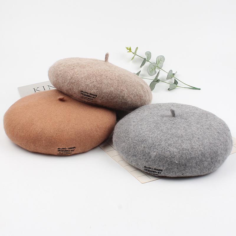 Lã Boinas Mulheres Homens Painter Hat Outono-Inverno Quente Solid Color Bordado Letters Vintage Beanie