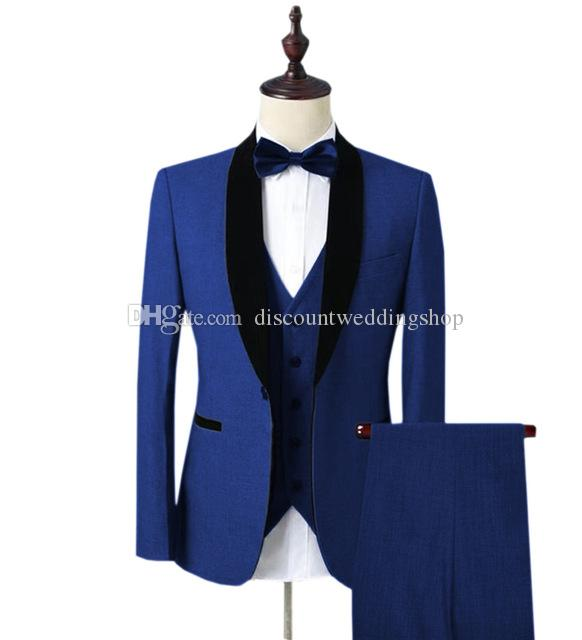 Nueva Llegada Un Botón Azul Novios Esmoquin Shawl Lapel Men Wedding Party Groomsmen 3 piezas Trajes (Chaqueta + Pantalones + Chaleco + Corbata) K163