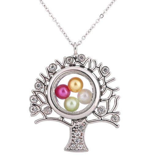 K1516 Color plata Árbol de la vida Magnético Locket flotante Perla colgante Mujeres Encantos Collar de cadena de acero