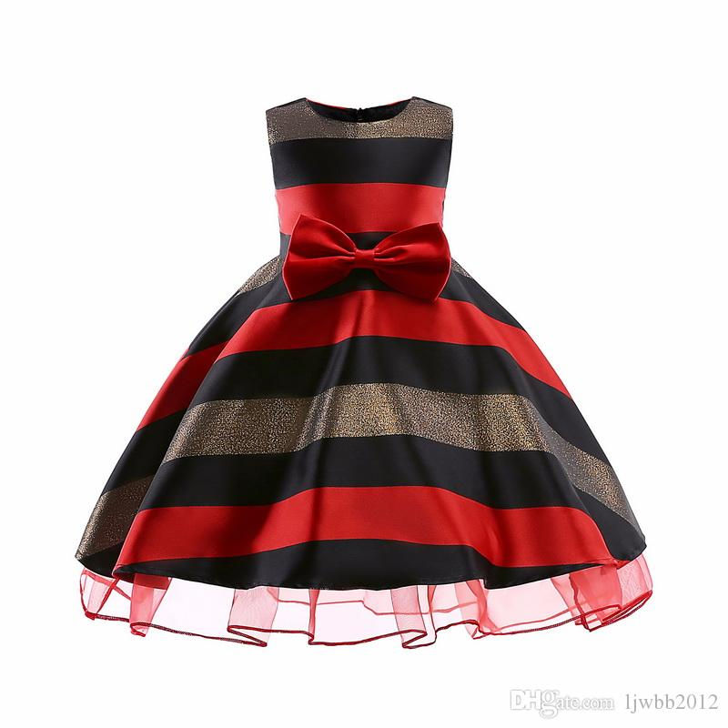 Striped Pattern Girl Dresses Jacquard Material Long Skirt With Big Bow Lace Princess Dresses Formal Wedding Party Ball Gown