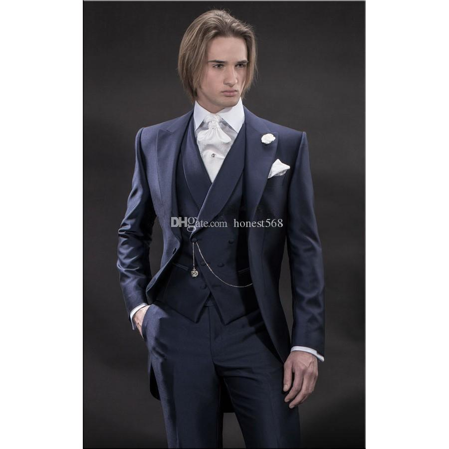 Bonito Um Botão Groomsmen Pico Lapela Do Noivo Smoking Ternos Dos Homens de Casamento / Baile / Jantar Melhor Homem Blazer (Jacket + Pants + Tie + Vest) A245