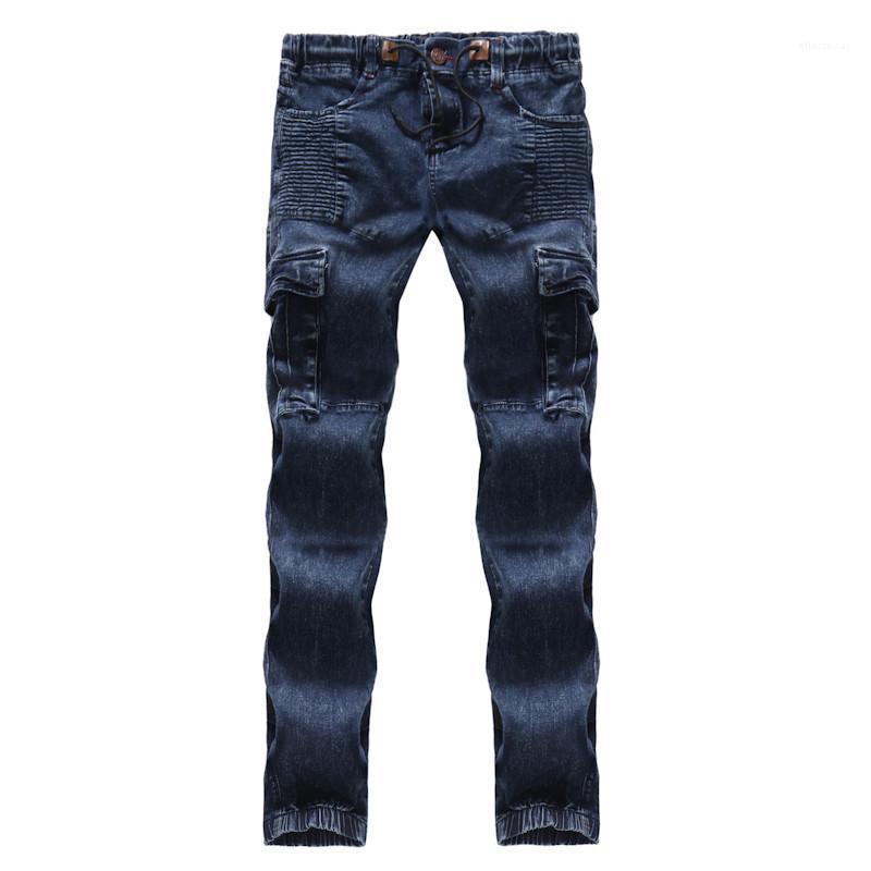 Reguläre mittlere Taillen-Designer Herren Pants Cotton Tether Männlich Kleidung Blau mit gefaltetem Herren Bleistift-Jeans