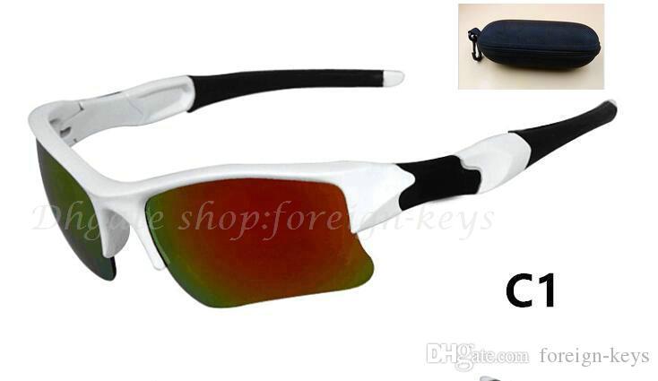 100% Yeni Renk Moda Erkek / Bayan Stil Spor Güneş Gözlüğü Beyaz çerçeve Spor güneş gözlüğü Klasik Güneş Gözlükleri Case.