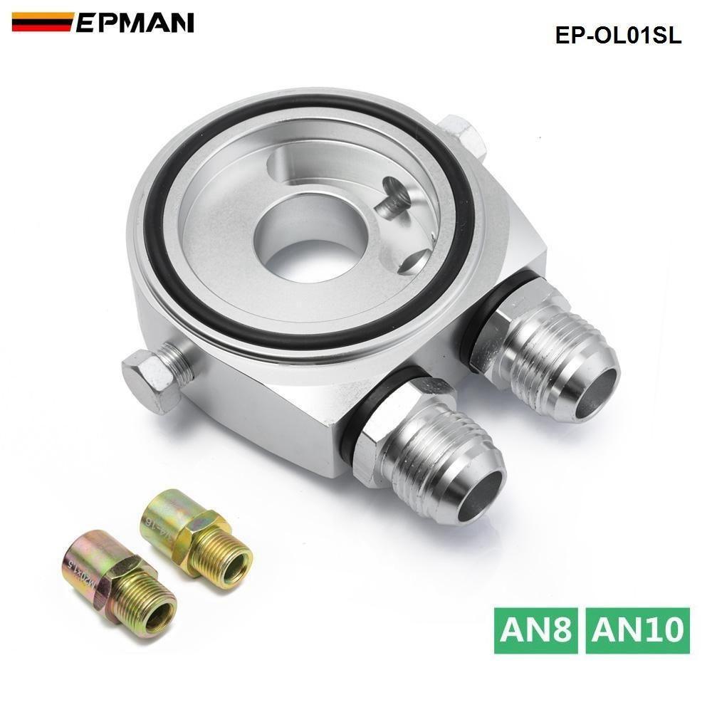 EPMAN Filtro de aceite Presión Temp Refrigerador de aceite Sandwich Plate M20 X 1.5 AN10 / AN8 Adaptador Sensor EP-OL01SL