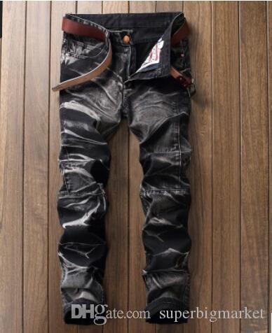 Nouvelle arrivée 2019! Pantalon bicolore jeans européen et américain pour hommes, vieux pantalons droits ...
