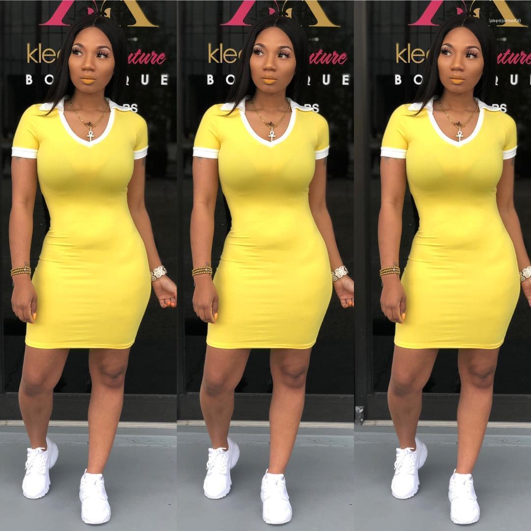 فساتين أنثى قلم رصاص اللباس غمد الصيف ملابس النساء الأصفر الصلبة اللباس الخامس الرقبة القميص القطن