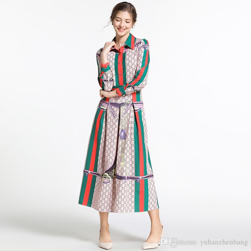 New 2019 Women's Classic Print Pleated Midi Shirt Dresses Ladies Casual Office Lapel Neck Long Sleeve A-line Button Luxury Designer Dresses