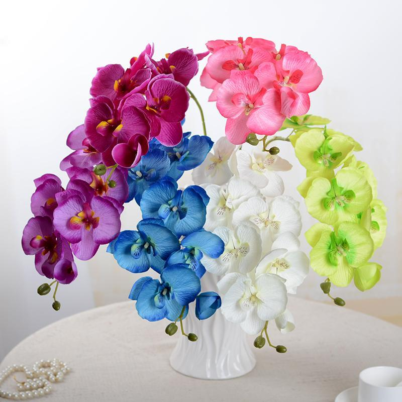 10Pcs / lot Lifelike Artificial Butterfly Orched Flower Silk Phalaenopsis Wedding Home DIY Decoration Decorative Plant