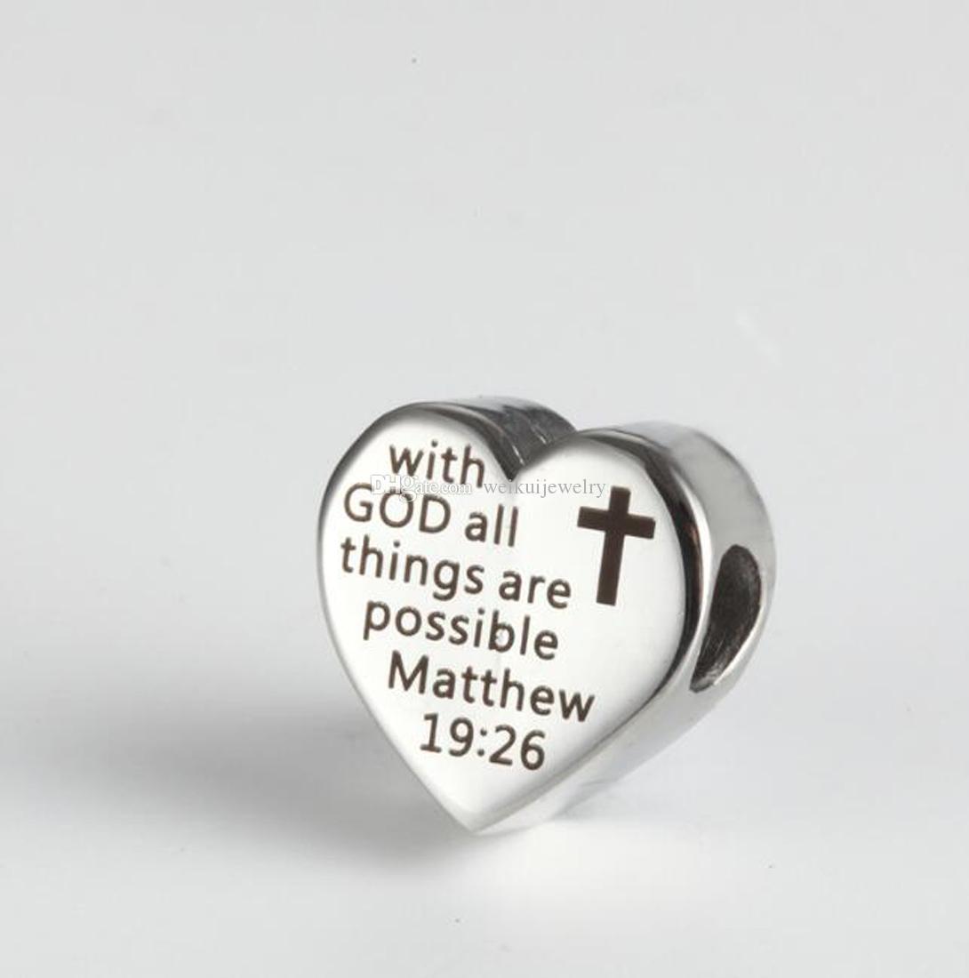 Accesorios grabados conmemorativos en forma de corazón grabados en acero inoxidable - Con Dios todas las cosas son posibles Mateo