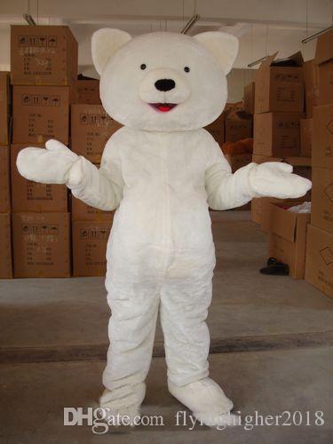 Professional custom small eyes plush bear Mascot Costume Cartoon white polar bear Character Clothes Christmas Halloween Party Fancy Dress