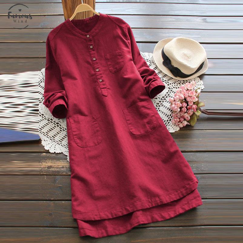 Mulheres Verão Ol algodão Mistura Mini vestido solto Casual Boho Praia Tops Drop Shipping