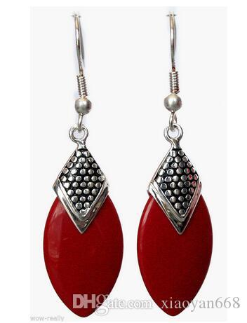 hot sell new - Stunning Red Coral Bead 925 Sterling Silver Earrings with Hook 925 Silver Water drop gem Onxy stone 925 si