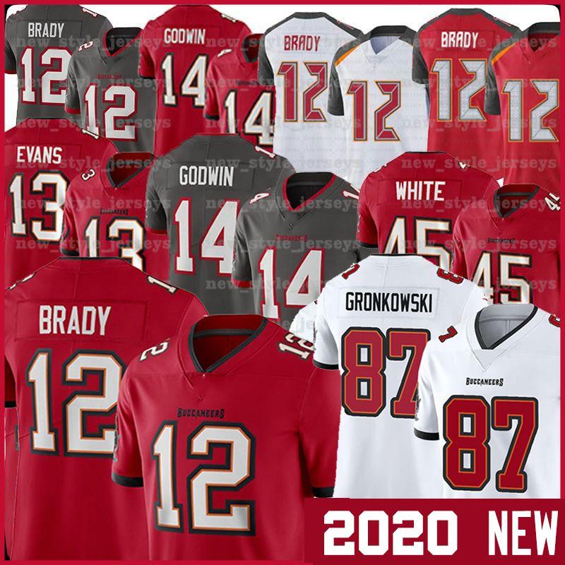 TampaBay 12 Tom Brady KorsanJeresey 87 Rob Gronkowski 2020 yeni 13 Mike Evans 14 Chris Godwin Devin Beyaz Erkekler Futbol Formalar