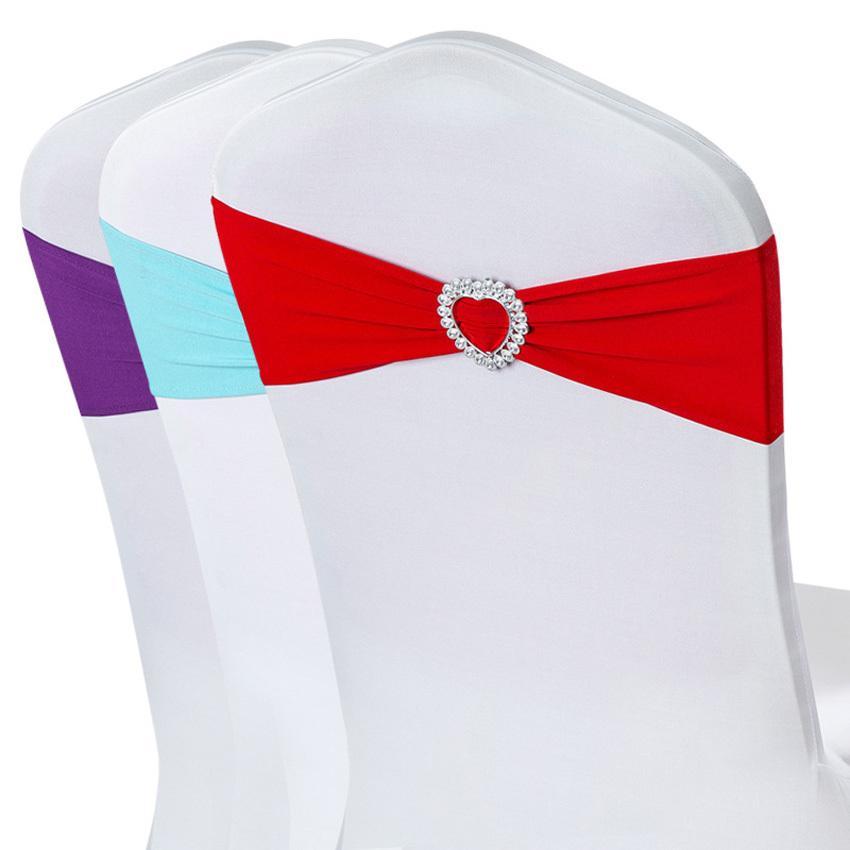 فرق 50PCS دنة ليكرا كرسي الزفاف غطاء شاح حفل زفاف عيد ميلاد رئيس ديكور الأزرق الملكي الأحمر أسود أبيض وردي بنفسجي T200601