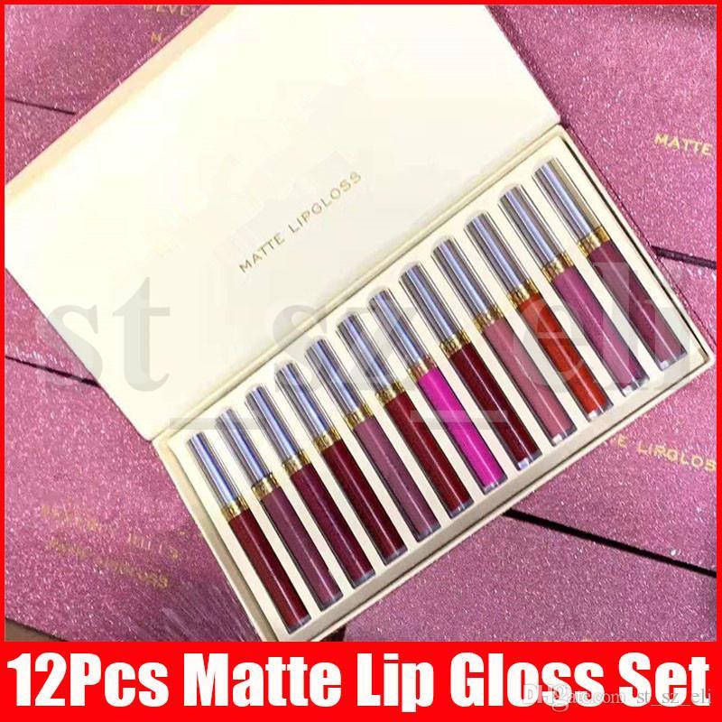 New Lip Makeup Set 12pcs Matte Liquid Lipstick 12 Colors a Set Lustrous Lip Gloss lipgloss lips Kit