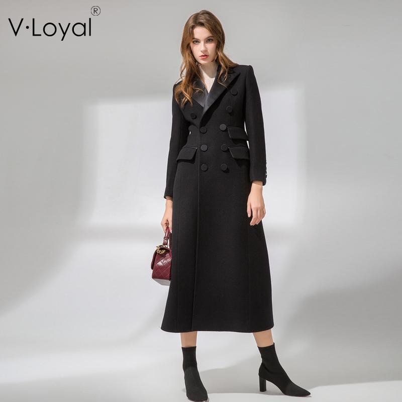 Sonbahar ve kış, yeni moda, stil, uzun saç, ceket, Avrupa ve Amerikan ipek yaka, yün ceket.