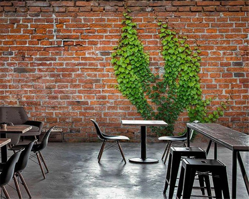 Пользовательские 3D фото обои Home Decor Урожай красного кирпича Creeper текстуры фона Стена Декоративные HD Красивые обои