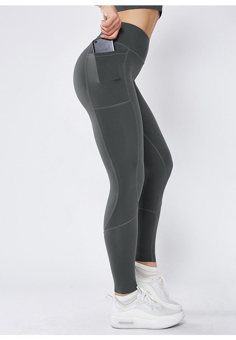 Neue Stitching Tasche Yoga-Hosen Doppel Nylon Stretch Enge Sport High Waist Damen-Fitnesshose Yogaworld