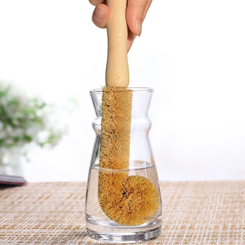 كأس خشبية فرشاة جوز الهند النخيل طويل مقبض زجاجة كوب نظافة وعاء المطبخ غسل أدوات المائدة تنظيف فرشاة المنزل 24 سنتيمتر FFA2809
