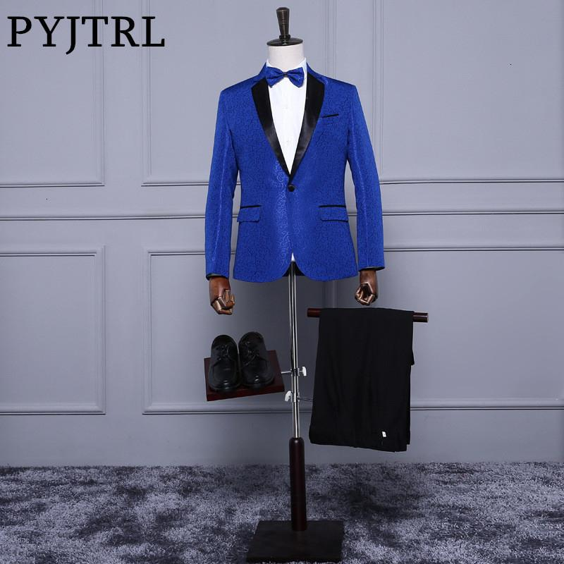 Trajes de boda Traje PYJTRL Real Azul Rojo Blanco jacquard clásica para hombre Slim Fit Pantalones smoking con el novio Etapa cantante de vestuario HommeMX190905
