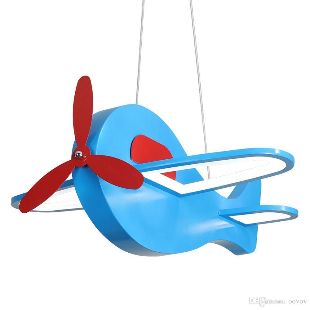 OOVOV Kids Room Blue Small Plane Hanging Lamp Cartoon Airplane Children Light Baby Room Bedroom Pendant Lights