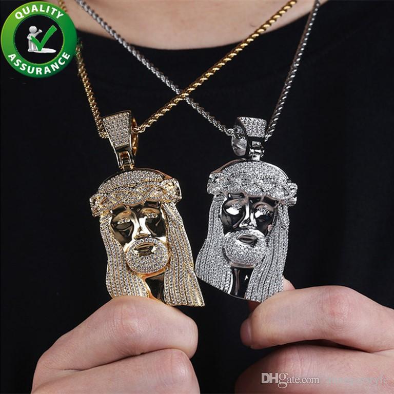 Iced Out Подвеска Дизайнер ожерелье Bling Алмазная Иисус Подвеска Luxury Hip Hop Ювелирные Mens Рэпер Модные аксессуары Hiphop Подвески 18k Gold