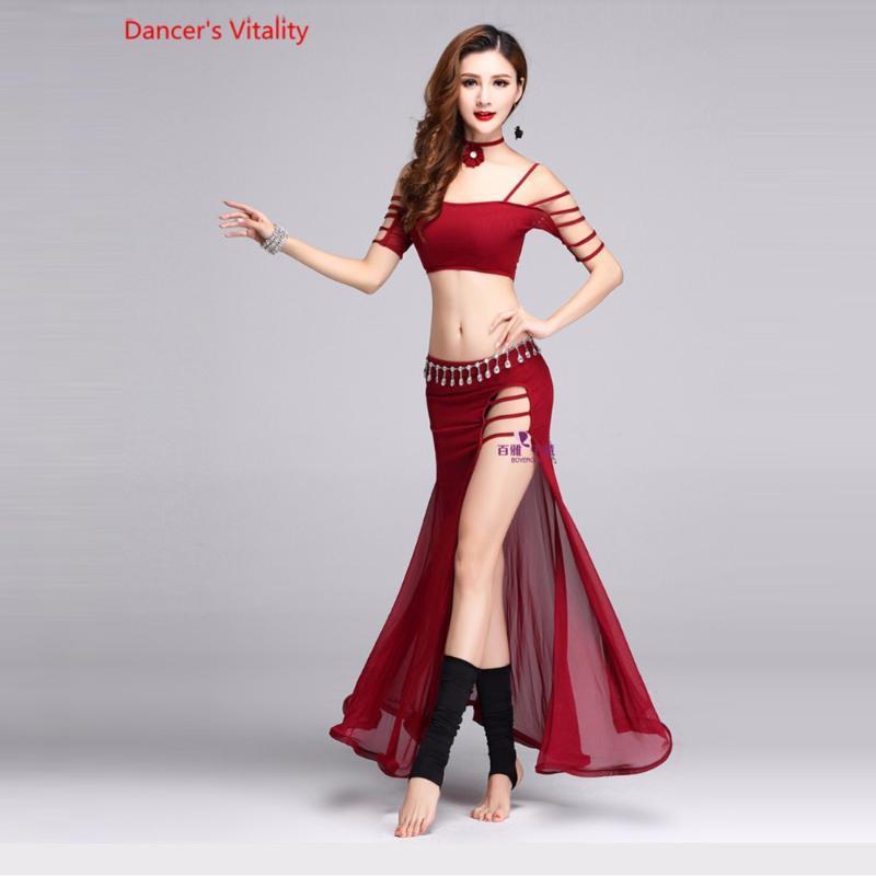 novas roupas de dança do ventre sexy meia mangas top + vestido longo 2pcs barriga conjunto de dança para a roupa das mulheres