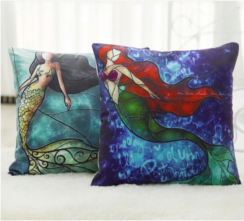 Cama Supplies 44 * 44 centímetros Cartton Mermaid Impresso Praça Algodão Linho fronha capa de almofada do sofá Car Pillow Sem Filler