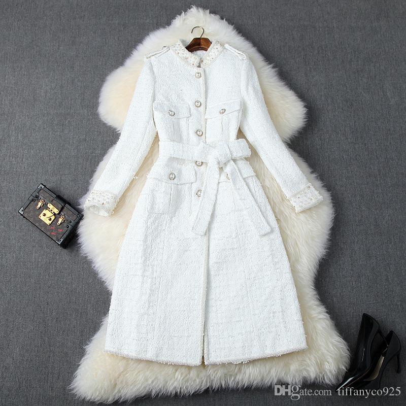 2020 Осень Осень Белый / Черный с длинным рукавом Стенд Воротник Tweed Beads Belted однобортный Длинные пиджаки Пальто Повседневная мода Пальто O06T10192