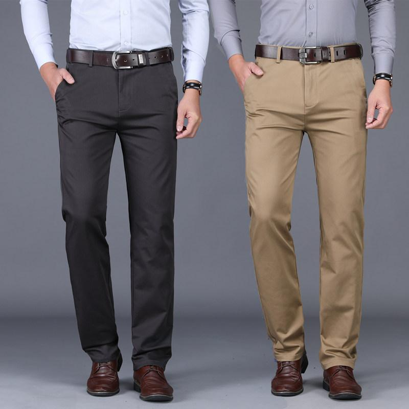 Erkekler Business Suit Pantolon Yüksek Bel Elbise Uzun Pantolon Stretch Plus Size Pantalones Hombre için resmi Düğün Düz Pantolon mens