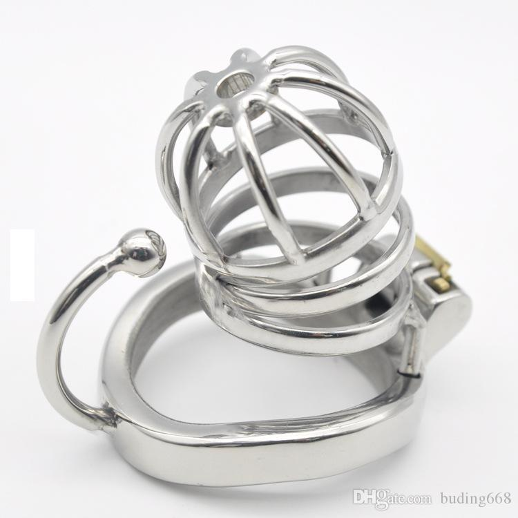Chastity Cage Stainless Steel Cock Cage with Removable Spikes and Massage Stimulate Device Sex Toys For Men Q778