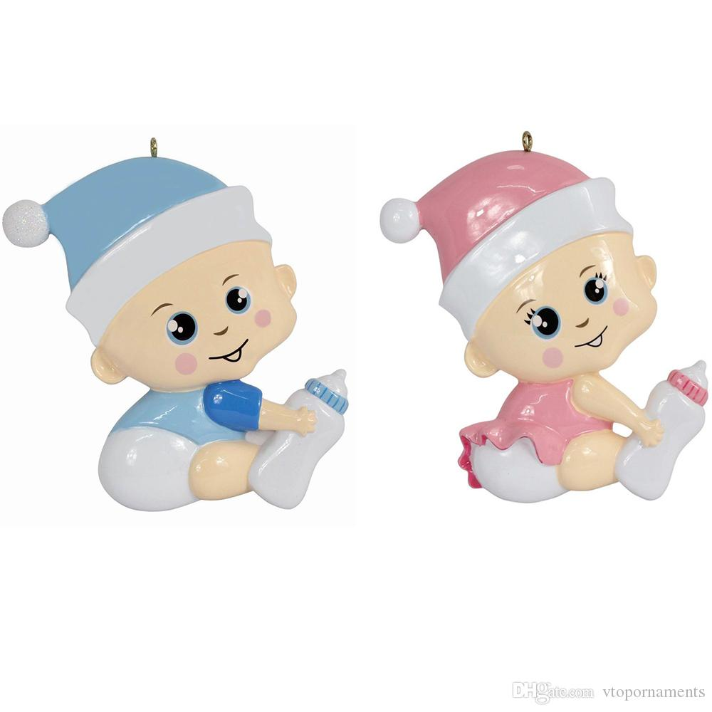 Maxora Personalized Cute Boy & Girl Baby's First Christmas Ornament Write Own Name As Craft Souvenir For Natal Baby First Gifts